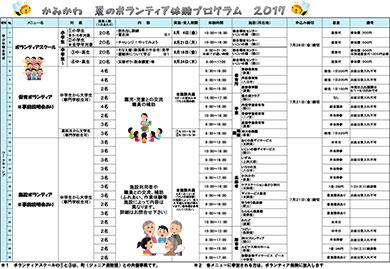 かみかわ 夏のボランティア体験プログラム